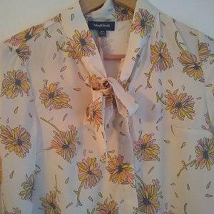 ModCloth Tie Neck Flower Print Blouse NWT